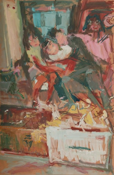 Amelia, Anastasia, Panayiotis and Zoe, 2004, oil on hardboard, 46x30cm