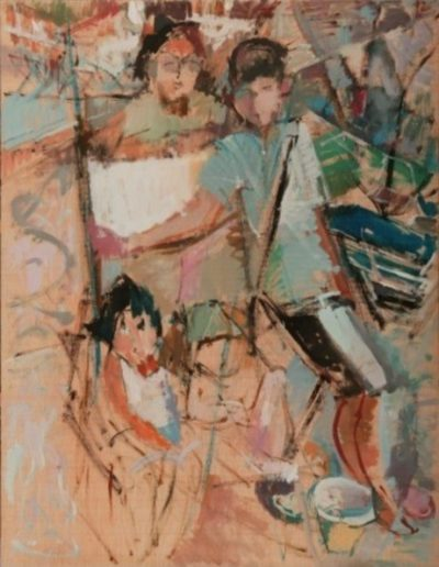 Amelia, Anastasia, Zoe and Panagiotis, 2004, oil on hardboard, 110x85cm