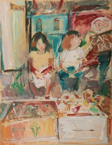 Amelia and Anastasia, 2004, oil on hardboard, 110x85cm