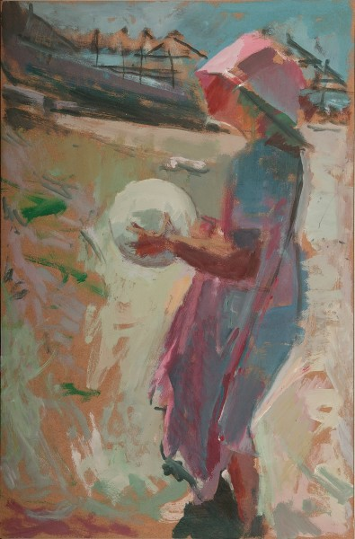 Amelia and her ball, 2004, oil on hardboard, 46x30cm