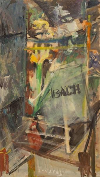 Bach, 1981, oil on cardboard, 91x52cm