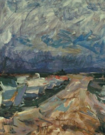 Boats at Aretsou bay, oil on hardboard, 1965, 49x38cm, Teloglion Foundation of Art