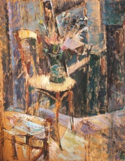 Green vase on a chair, 1991, oil on hardboard, 118x94cm