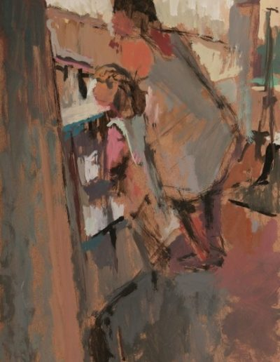 Life on the balcony, 2004, oil on hardboard, 33x24cm