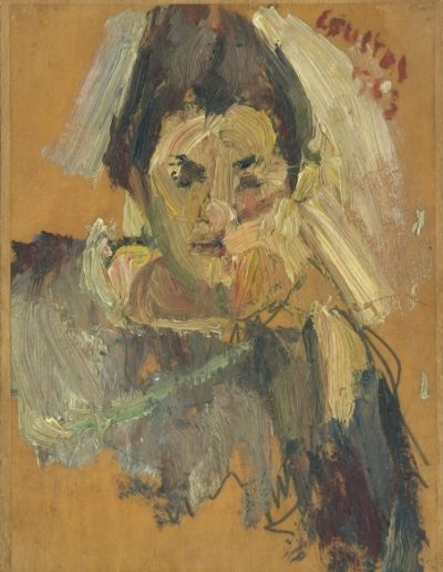 Anastasia, the artist's wife, 1963, oil on hardboard, 21x16cm