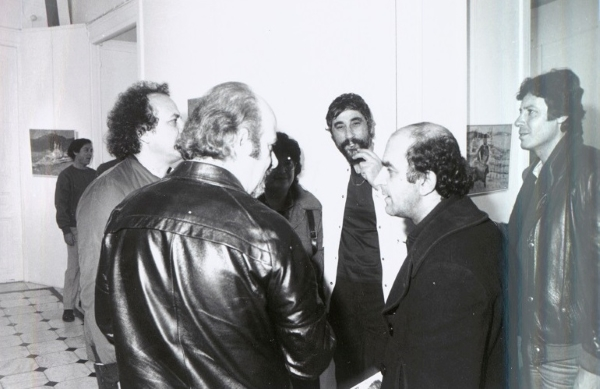 Solo exhibition at Gallery Syllogi, Athens, 1983, pictured with the painter Alekos Fasianos and other guests