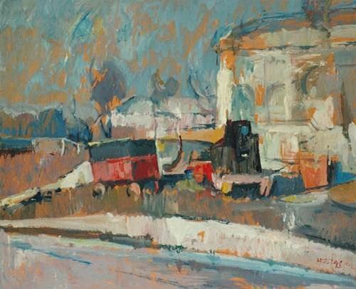 Street scene, New York 1964, oil on hardboard, 78x65cm, Teloglion Foundation of Art
