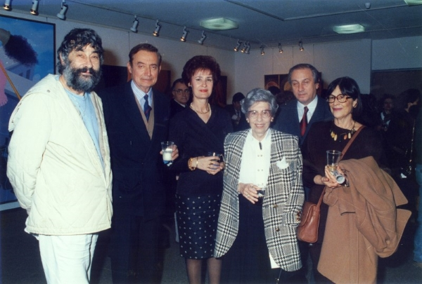 With the art collector Ion Vorres, Anastasia Vafopoulou, Anni Balasa, Nikos Markantonakis and guest at the Vafopoulio Cultural Centre, Thessaloniki, 1992