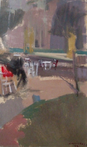 Countryside café, 1972, oil on cardboard, 46x27cm