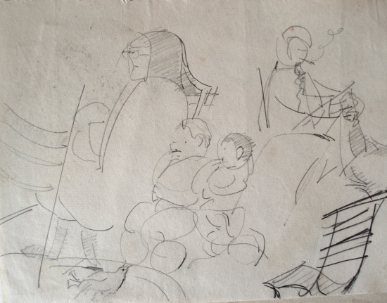 On the boat, 1968, pencil on paper, 17x22cm