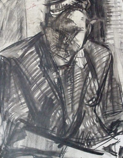 Portrait of an unknown man, 1979, charcoal on paper, 60x46cm