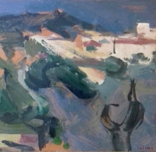 View of Posidi, Chalkidiki, Greece,  1974, oil on hardboard, 35x33cm