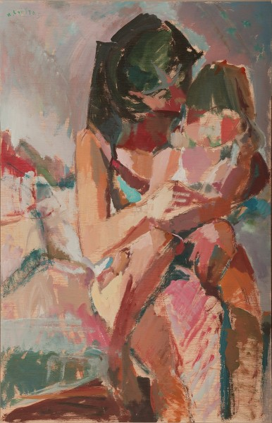 """Amelia and her mother, 2004, oil on panel, 85x55cm (33.4""""x21.6"""")"""