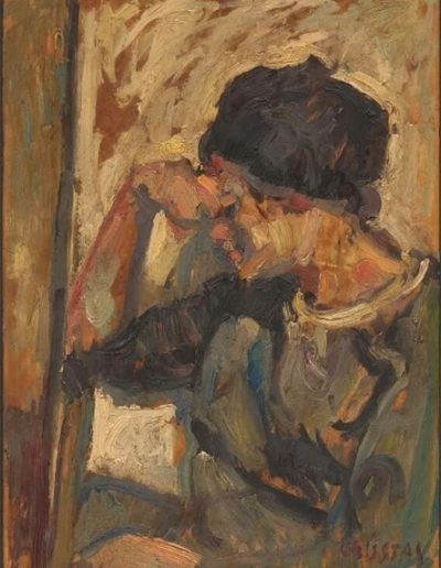 Anastasia, the artist's wife, 1964, oil on hardboard, 70x50cm