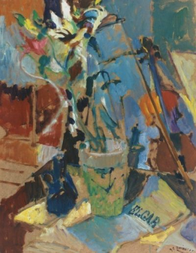 "Elgar.,1996, oil on panel, 86x45cm (33.8""x17.7"")"