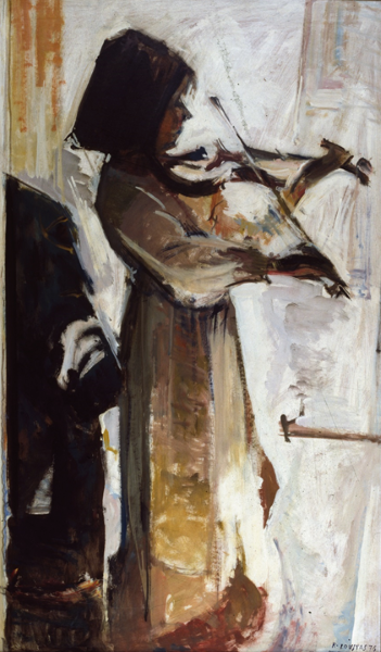 Mimi Loustas with her violin, 1976, oil on hardboard, 122x70cm