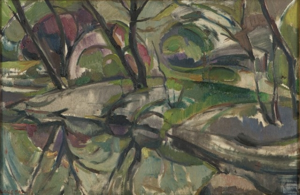 Pond in Central Park, New York 1964, oil on canvas, 32x48cm