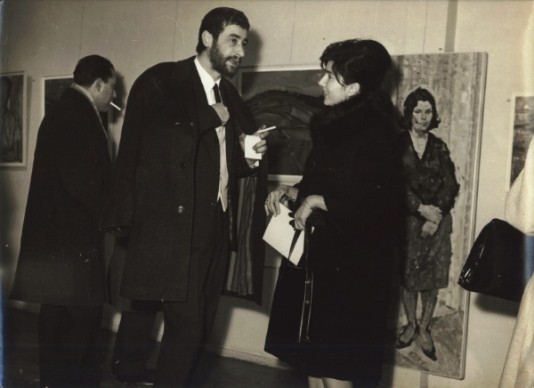 Solo exhibition at Gallery Tehni, Thessaloniki, Greece, January 1963. Kostas Loustas is pictured here with the painter Cleo Natsi