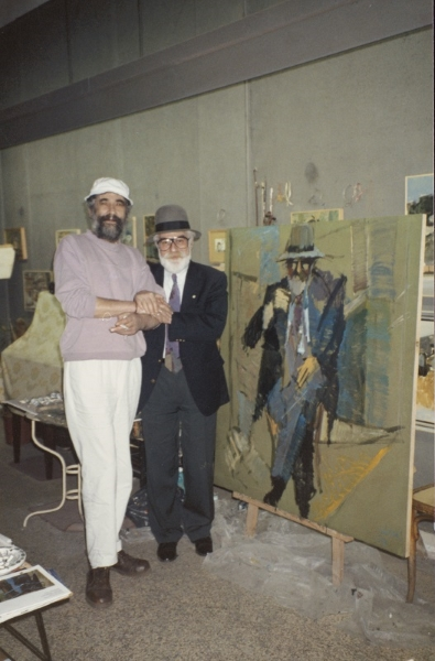 With the painter Kostas Lahas, Thessaloniki, 1993