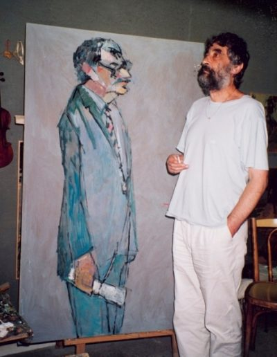 With the portrait of the poet Manolis Anagnostakis, Thessaloniki, 1992