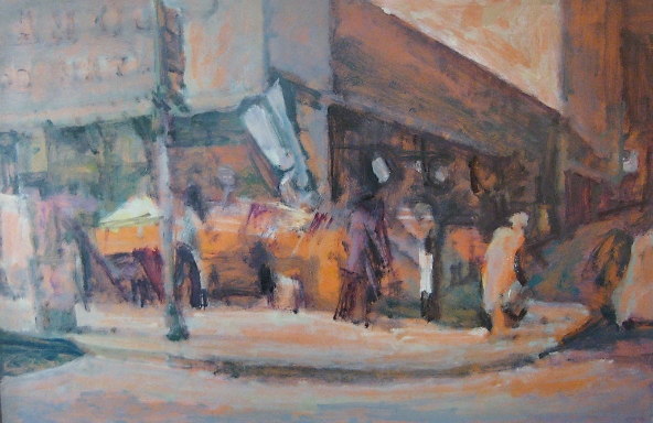 Paramount market, New York 1964, oil on hardboard, 92x129cm