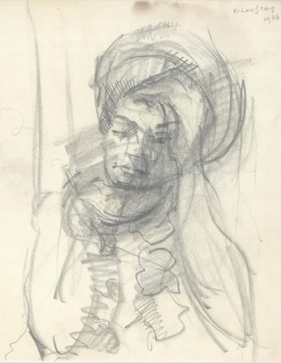 The artist's wife, 1966, pencil on paper, 22x20cm