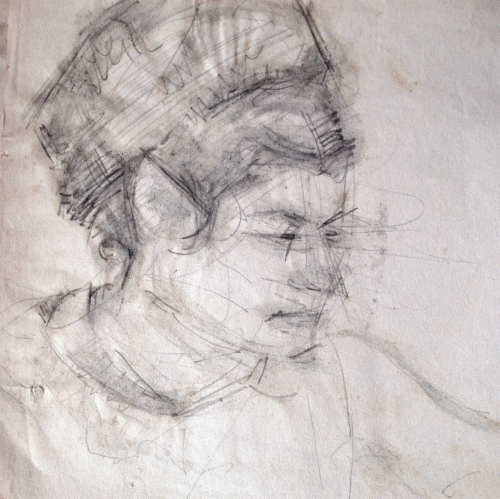 The artist's wife, 1966, pencil on paper, 22x22cm