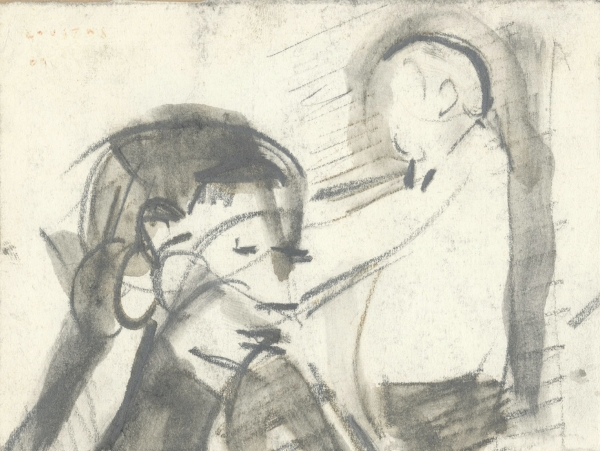 The coffee shop, 1969, pencil on paper, 9x11cm