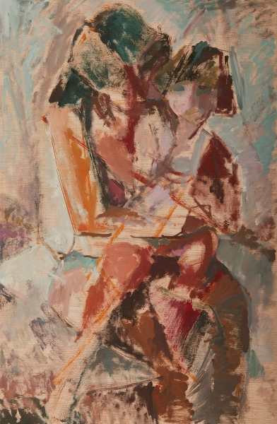 Amelia and her mother, 2004, oil on hardboard, 85x55cm