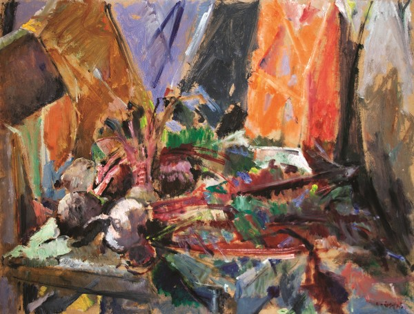 Beetroots on the chair, 1997, oil on hardboard, 54x70cm