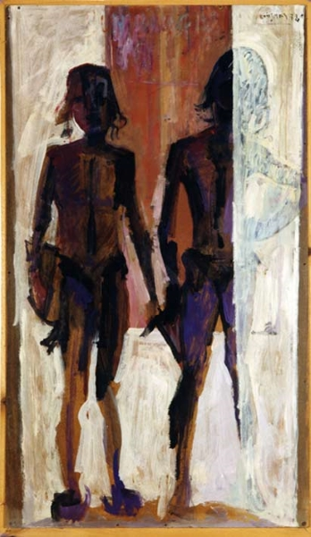 Girls returning from the beach, 1978, oil on hardboard, 122x69cm