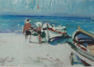 Siviri, Halkidiki, 1977, oil on cardboard, 15x22cm