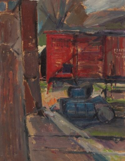 The red wagon,Florina, 1978, oil on hardboard, 43x33cm