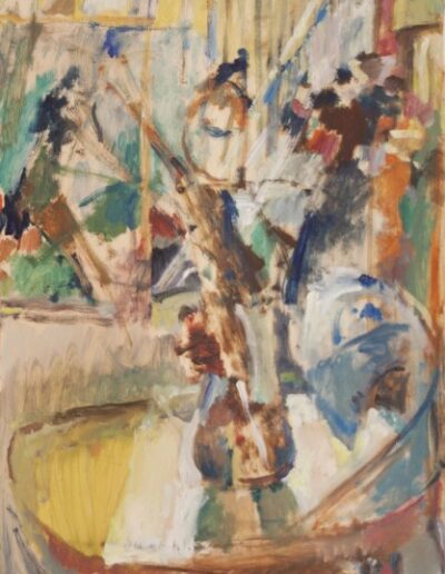 "Vase on a chair, 1998, oil on panel, 50x35cm (19.6""x13.7"")"