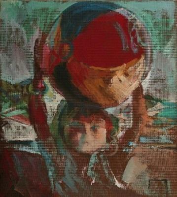 "Amelia and her ball, 2004, oil on masonite, 52x46cm (20.4""x18.1"")"