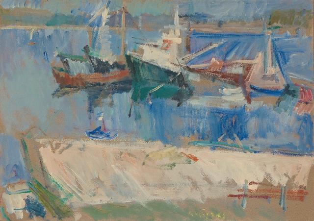 """Amouliani island, 1983, oil on panel, 35x51cm (13.7""""x20"""")"""