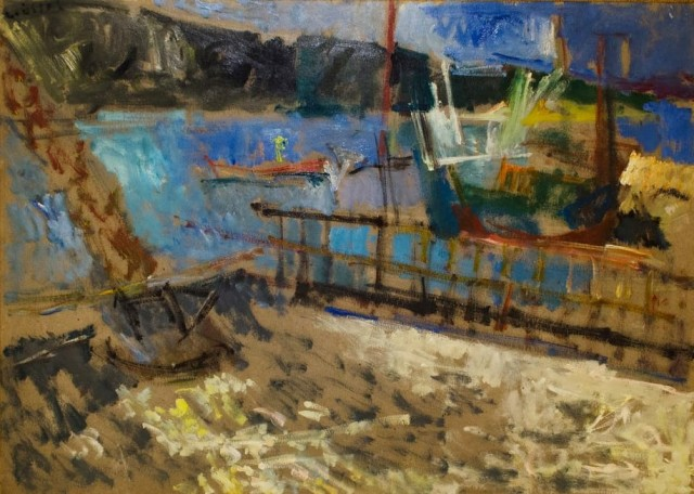 """Amouliani island, 1983, oil on panel, 50x70cm (19.6""""x27.5"""")"""