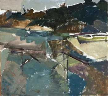 "Aretsou bay, 1970, oil on panel, 110x100cm (43.3""x39.3""), State Museum of Contemporary Art, Greece"