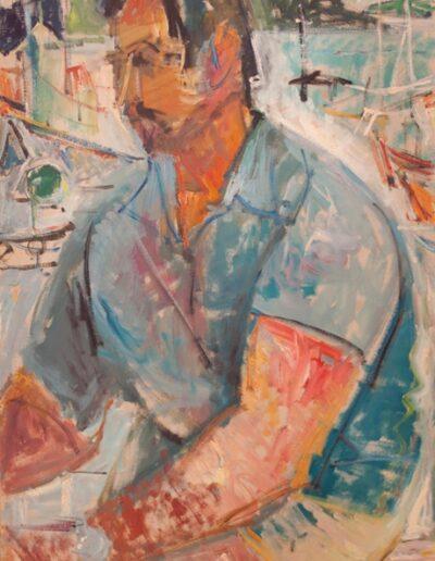 "Aristos, the loader, 1983, oil on  panel, 70x50cm (27.5""x19.6"")"