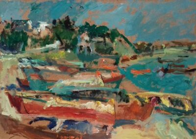 "Boats at Mihaniona, 1996, oil on panel, 24x33cm (9.4""x12.9"")"