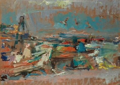 "Boats at Mihaniona, 1998, oil on panel, 24x33cm (9.4""x12.9"")"