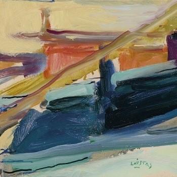 "Fourka, Kassandra Peninsula, 1979, oil on panel, 21x21cm (8.2""x8.2"")"