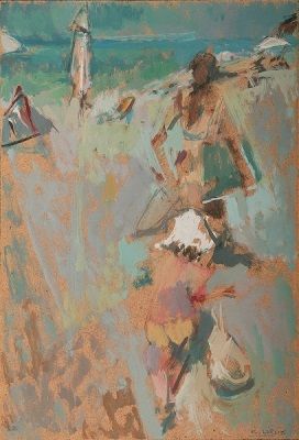 """Going to the beach, 2004, oil on panel, 35x24cm (13.7""""x9.4"""")"""