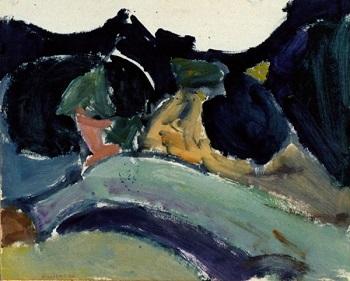 """Kassandra Peninsula, 1974, oil on panel, 40x50cm (15.7""""x19.6"""")"""