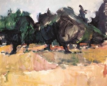 """Kassandra, Peninsula, 1974, oil on panel, 55x68cm (21.6""""x26.7"""")"""
