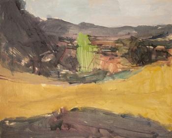 """Kassandra Peninsula, 1974, oil on panel, 55x68cm (21.6""""x26.7"""")"""
