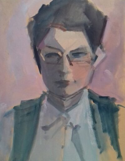 "Mrs Vlahopoulou, 1969, oil on cardboard, 49x34cm (19.2""x13.3"")"