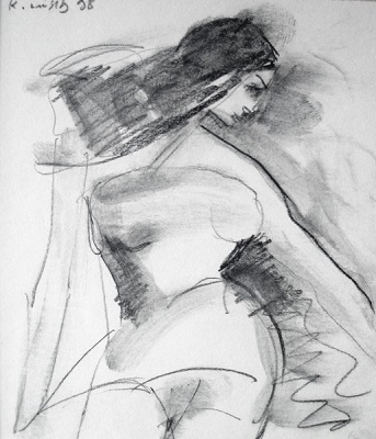 "Nude, 1998, pencil on paper, 12x11cm (4.7""x4.3"")"