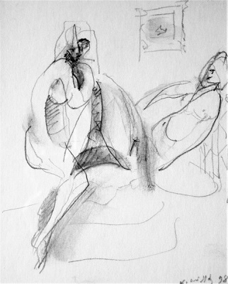 "Nude, 1998, pencil on paper, 14x11cm (5.5""x4.3"")"