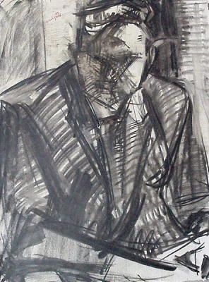 "Portrait of an unknown man, 1979, charcoal on paper, 60x46cm (23.6""x18.1"")"
